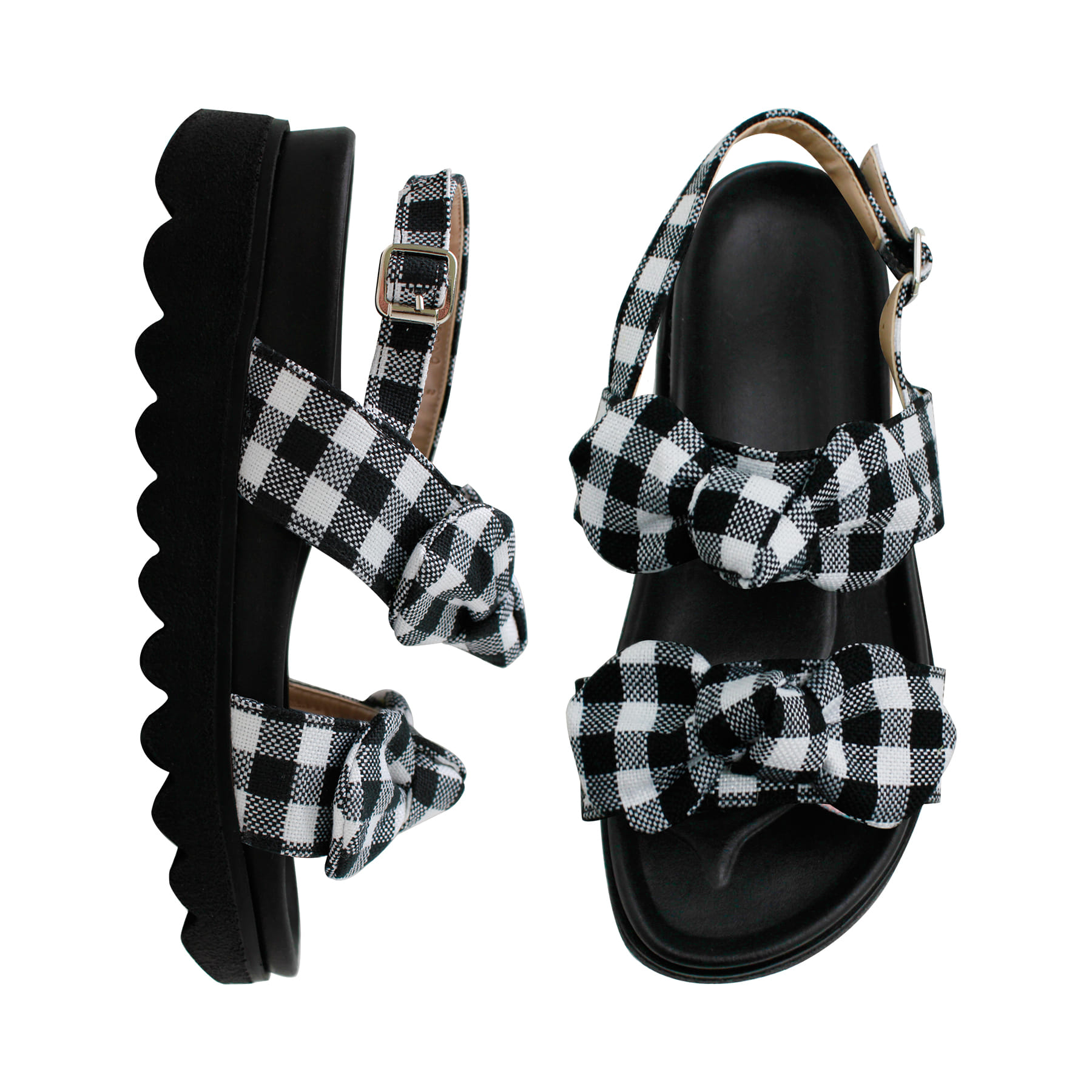 Ribbon Check Sandal_S0403_BK